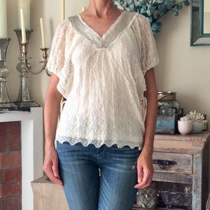 Anthropologie Knitted Knotted White Lace Blouse M